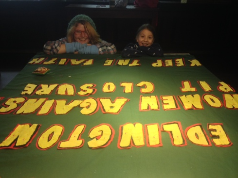 Joie and Estelle our banner making dream team.